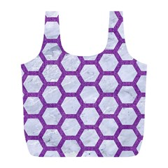 Hexagon2 White Marble & Purple Denim (r) Full Print Recycle Bags (l)  by trendistuff