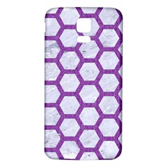 Hexagon2 White Marble & Purple Denim (r) Samsung Galaxy S5 Back Case (white) by trendistuff