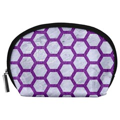 Hexagon2 White Marble & Purple Denim (r) Accessory Pouches (large)  by trendistuff