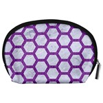 HEXAGON2 WHITE MARBLE & PURPLE DENIM (R) Accessory Pouches (Large)  Back