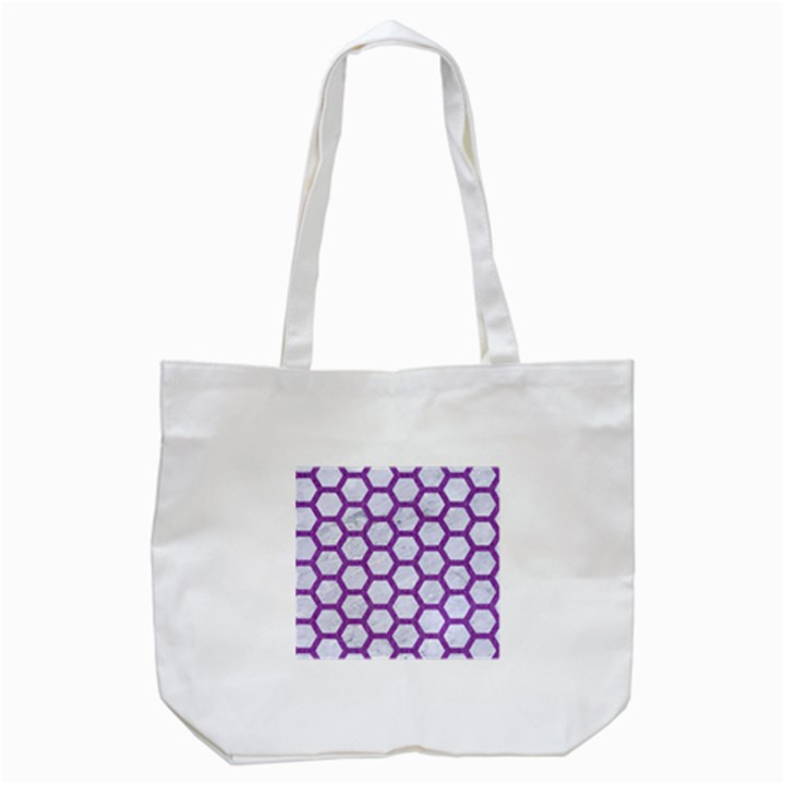 HEXAGON2 WHITE MARBLE & PURPLE DENIM (R) Tote Bag (White)