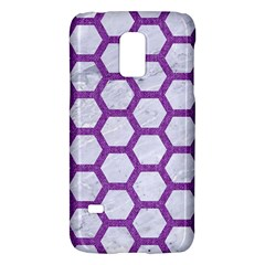 Hexagon2 White Marble & Purple Denim (r) Galaxy S5 Mini by trendistuff