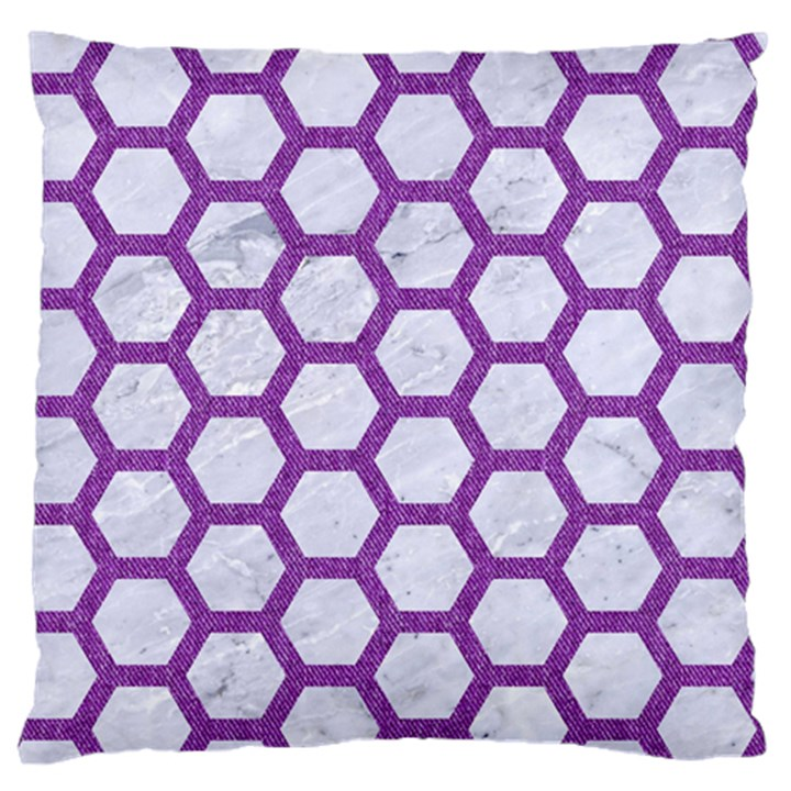 HEXAGON2 WHITE MARBLE & PURPLE DENIM (R) Large Flano Cushion Case (Two Sides)