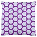 HEXAGON2 WHITE MARBLE & PURPLE DENIM (R) Large Flano Cushion Case (Two Sides) Back
