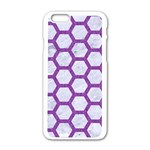 HEXAGON2 WHITE MARBLE & PURPLE DENIM (R) Apple iPhone 6/6S White Enamel Case Front