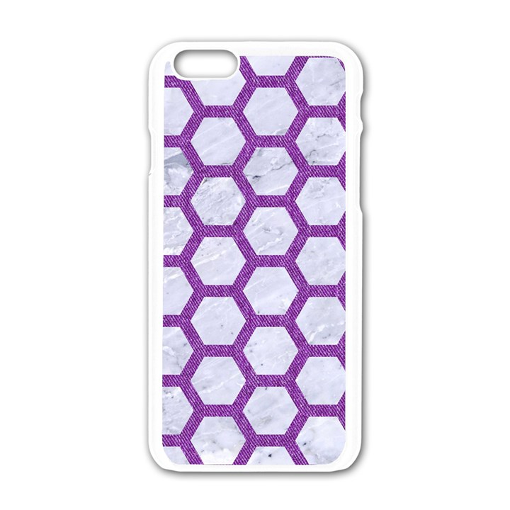 HEXAGON2 WHITE MARBLE & PURPLE DENIM (R) Apple iPhone 6/6S White Enamel Case