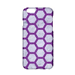 Hexagon2 White Marble & Purple Denim (r) Apple Iphone 6/6s Hardshell Case