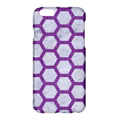 Hexagon2 White Marble & Purple Denim (r) Apple Iphone 6 Plus/6s Plus Hardshell Case