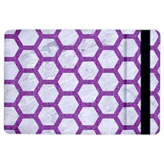 Hexagon2 White Marble & Purple Denim (r) Ipad Air 2 Flip