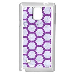 Hexagon2 White Marble & Purple Denim (r) Samsung Galaxy Note 4 Case (white)