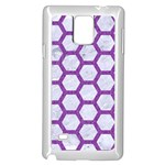 HEXAGON2 WHITE MARBLE & PURPLE DENIM (R) Samsung Galaxy Note 4 Case (White) Front