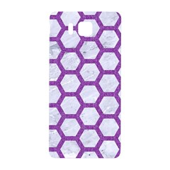 Hexagon2 White Marble & Purple Denim (r) Samsung Galaxy Alpha Hardshell Back Case by trendistuff