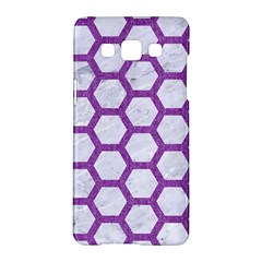 Hexagon2 White Marble & Purple Denim (r) Samsung Galaxy A5 Hardshell Case  by trendistuff