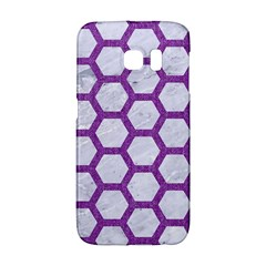 Hexagon2 White Marble & Purple Denim (r) Galaxy S6 Edge by trendistuff
