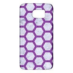 Hexagon2 White Marble & Purple Denim (r) Galaxy S6 by trendistuff