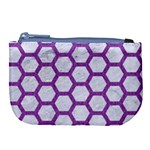 HEXAGON2 WHITE MARBLE & PURPLE DENIM (R) Large Coin Purse Front