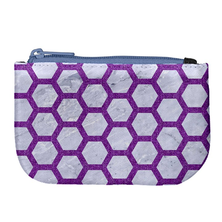HEXAGON2 WHITE MARBLE & PURPLE DENIM (R) Large Coin Purse