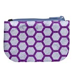 HEXAGON2 WHITE MARBLE & PURPLE DENIM (R) Large Coin Purse Back