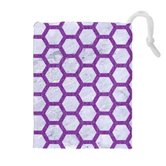 Hexagon2 White Marble & Purple Denim (r) Drawstring Pouches (extra Large) by trendistuff