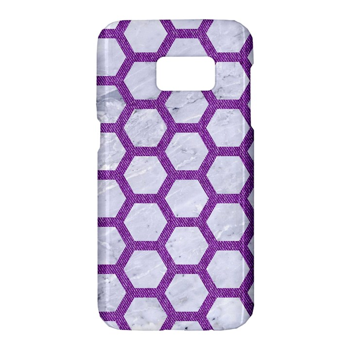 HEXAGON2 WHITE MARBLE & PURPLE DENIM (R) Samsung Galaxy S7 Hardshell Case