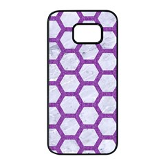 Hexagon2 White Marble & Purple Denim (r) Samsung Galaxy S7 Edge Black Seamless Case by trendistuff