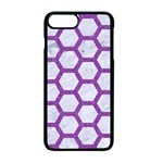 HEXAGON2 WHITE MARBLE & PURPLE DENIM (R) Apple iPhone 7 Plus Seamless Case (Black) Front