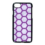 HEXAGON2 WHITE MARBLE & PURPLE DENIM (R) Apple iPhone 7 Seamless Case (Black) Front