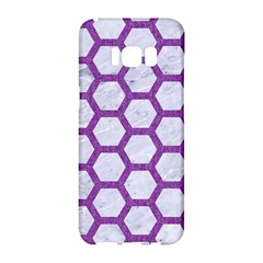Hexagon2 White Marble & Purple Denim (r) Samsung Galaxy S8 Hardshell Case  by trendistuff
