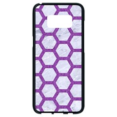Hexagon2 White Marble & Purple Denim (r) Samsung Galaxy S8 Black Seamless Case by trendistuff