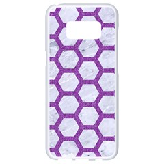 Hexagon2 White Marble & Purple Denim (r) Samsung Galaxy S8 White Seamless Case by trendistuff