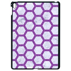 Hexagon2 White Marble & Purple Denim (r) Apple Ipad Pro 9 7   Black Seamless Case