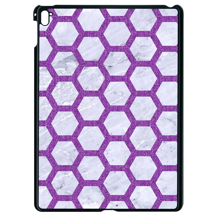 HEXAGON2 WHITE MARBLE & PURPLE DENIM (R) Apple iPad Pro 9.7   Black Seamless Case