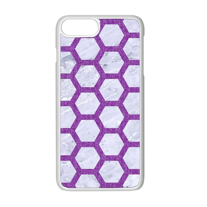 HEXAGON2 WHITE MARBLE & PURPLE DENIM (R) Apple iPhone 8 Plus Seamless Case (White)
