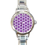 HEXAGON2 WHITE MARBLE & PURPLE DENIM Round Italian Charm Watch Front