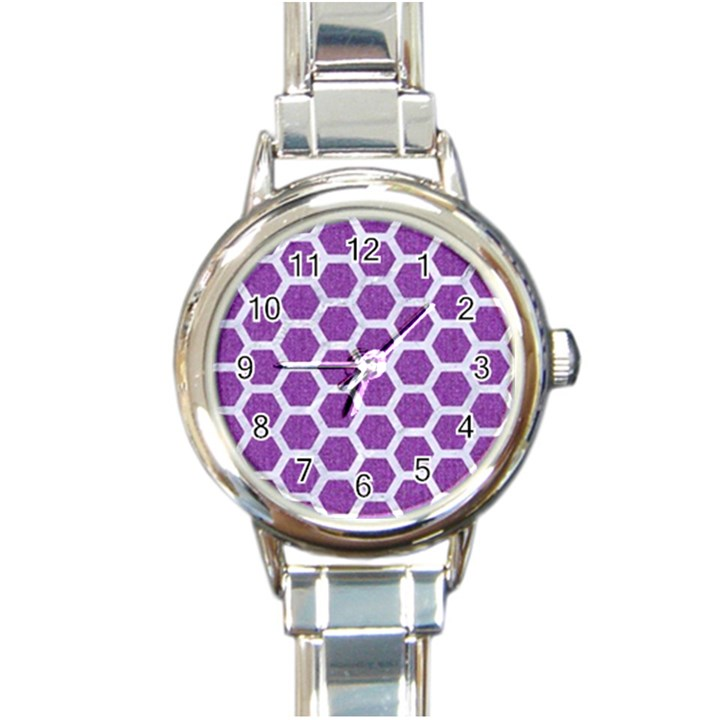 HEXAGON2 WHITE MARBLE & PURPLE DENIM Round Italian Charm Watch