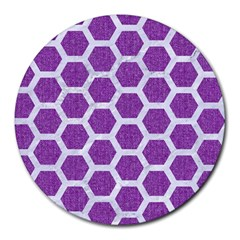 Hexagon2 White Marble & Purple Denim Round Mousepads by trendistuff