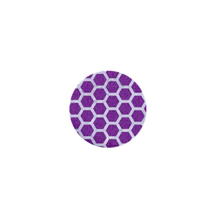 HEXAGON2 WHITE MARBLE & PURPLE DENIM 1  Mini Buttons