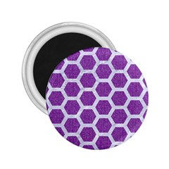 Hexagon2 White Marble & Purple Denim 2 25  Magnets