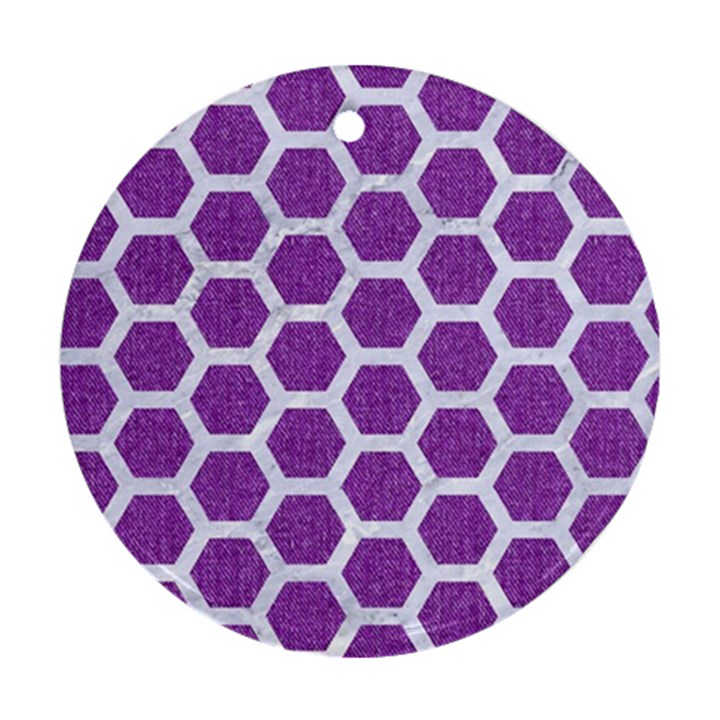 HEXAGON2 WHITE MARBLE & PURPLE DENIM Ornament (Round)