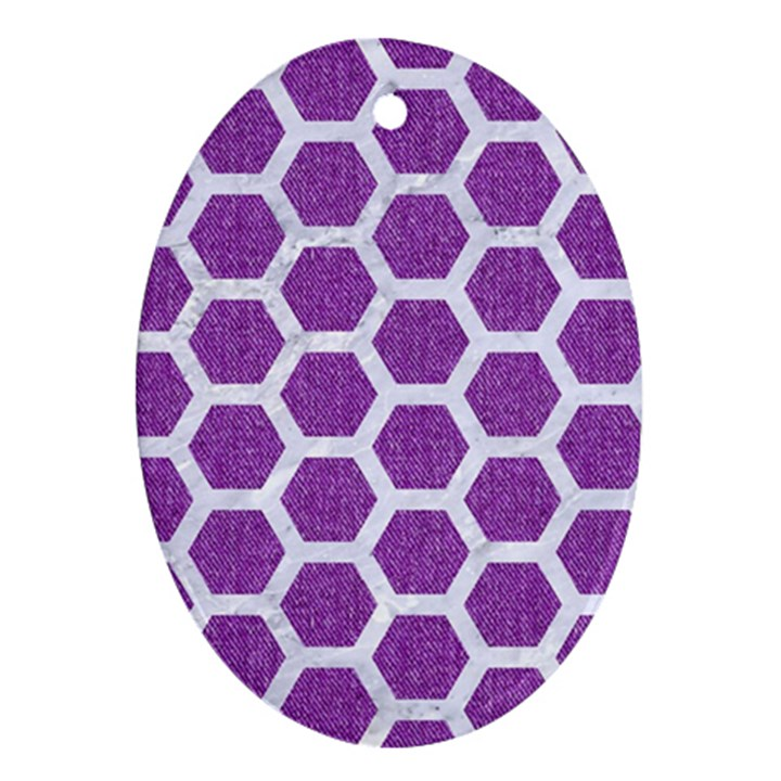 HEXAGON2 WHITE MARBLE & PURPLE DENIM Ornament (Oval)