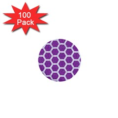 HEXAGON2 WHITE MARBLE & PURPLE DENIM 1  Mini Buttons (100 pack)
