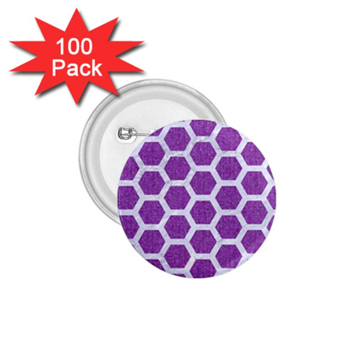 HEXAGON2 WHITE MARBLE & PURPLE DENIM 1.75  Buttons (100 pack)
