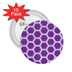 HEXAGON2 WHITE MARBLE & PURPLE DENIM 2.25  Buttons (10 pack)