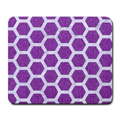 Hexagon2 White Marble & Purple Denim Large Mousepads by trendistuff