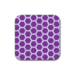Hexagon2 White Marble & Purple Denim Rubber Coaster (square)