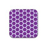 HEXAGON2 WHITE MARBLE & PURPLE DENIM Rubber Coaster (Square)  Front