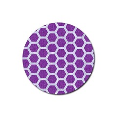 Hexagon2 White Marble & Purple Denim Rubber Coaster (round)  by trendistuff