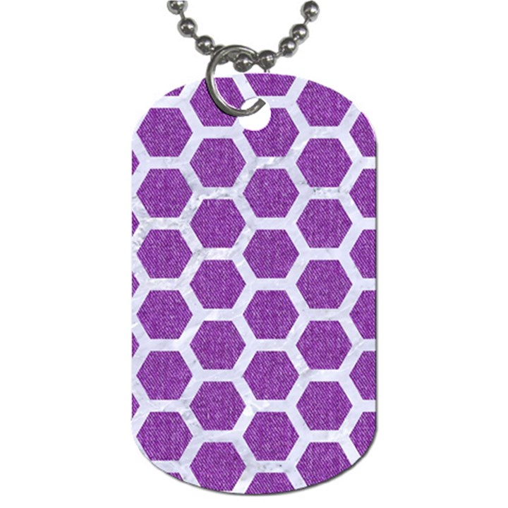 HEXAGON2 WHITE MARBLE & PURPLE DENIM Dog Tag (Two Sides)