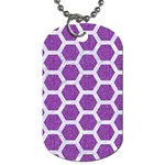 HEXAGON2 WHITE MARBLE & PURPLE DENIM Dog Tag (Two Sides) Back