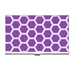 HEXAGON2 WHITE MARBLE & PURPLE DENIM Business Card Holders Front
